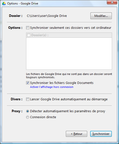 Options Google Drive