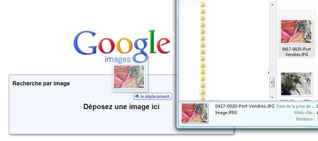Glisser-déposer dans Google Images
